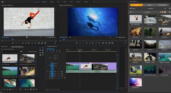 Screenshot der Integration von Canto mit Premiere Pro.