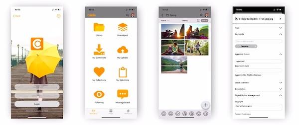 Screenshots der Mobil-App von Canto für iOS.