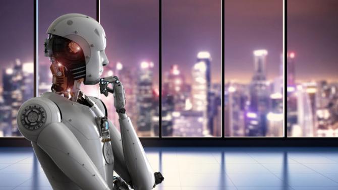 Ein Roboter in menschlicher Form, der eine nachdenkliche Haltung eingenommen hat.