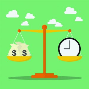 Graphic showing a scale with money on the one side and a clock on the other.