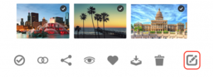 A row of image files showing various cities, below them is a row of various icons from the Canto DAM, the Edit icon is highlighted.