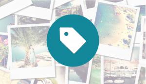 A tag over photographs.