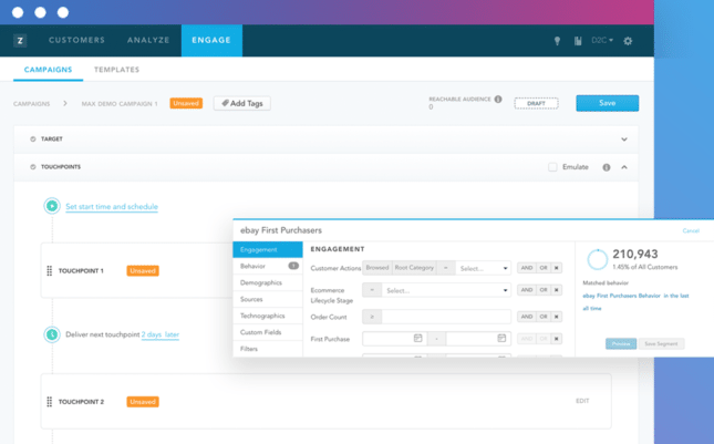 A screenshot of Zaius' ecommerce marketing software interface.