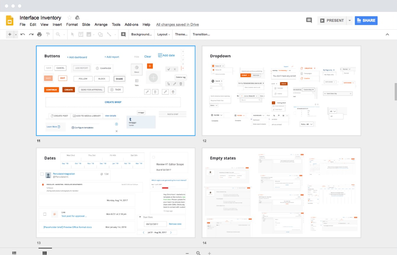 A screenshot of the Percolate software interface.