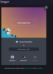 Ein Screenshot der Benutzeroberfläche von Imgur.