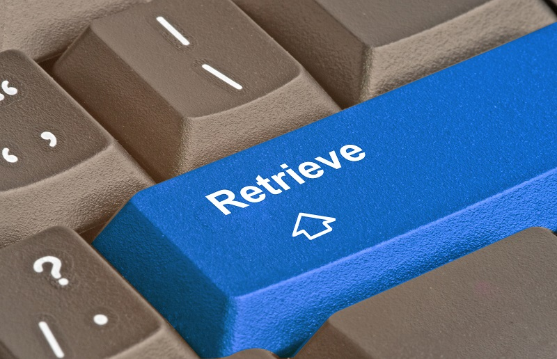 A picture of a keyboard with a blue button that reads 'Retrieve'.