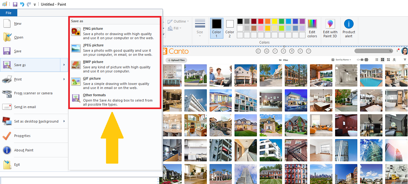 A screenshot of the 'Save as' feature in Microsoft Paint.