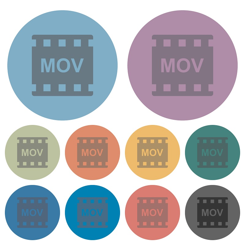 A screenshot of MOV video logos in different colors.