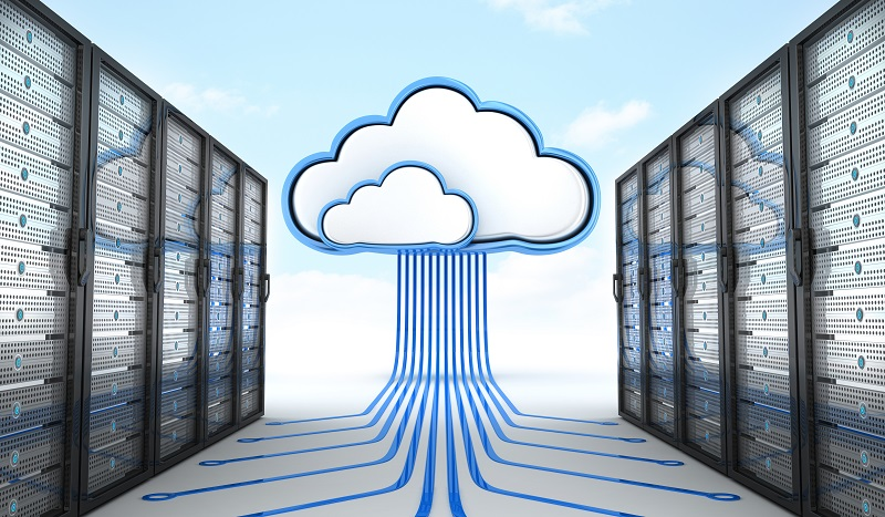 A picture of animated clouds in between servers.