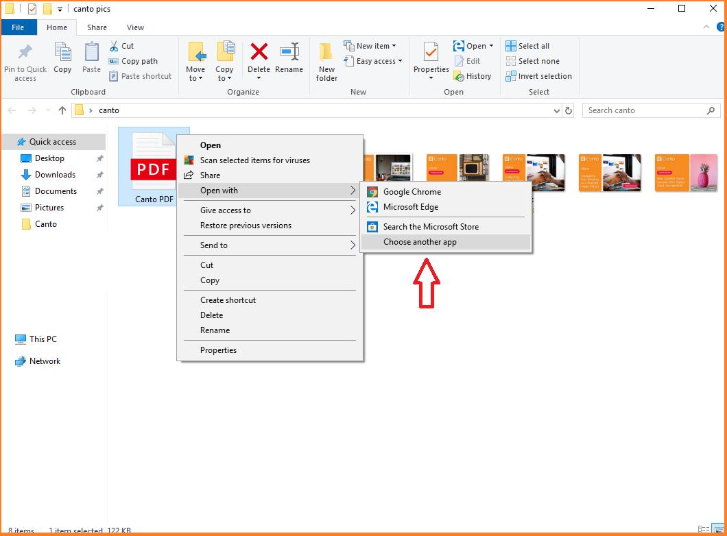 A screenshot of a user opening a PDF file.