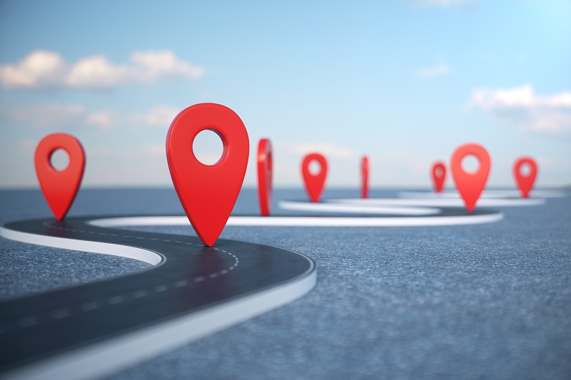 A picture of GPS coordinates mapping out a road.