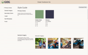 Screenshot of an exemplary style guide page in the Canto Digital Asset Management system, showing sample images and corporate colors.