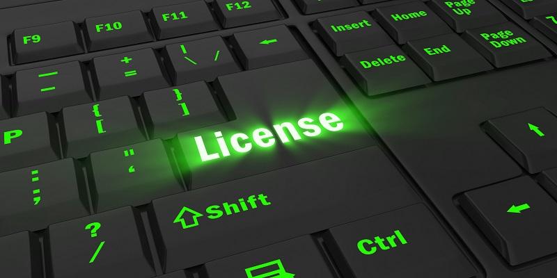 Green keyboard illuminating the word 'License'.