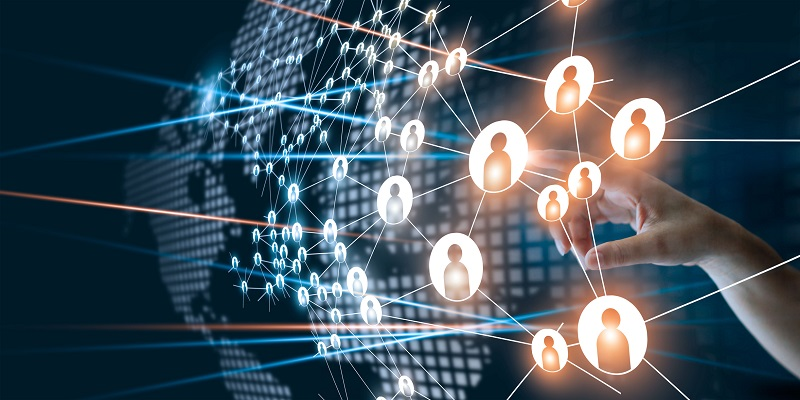 Connected digital communication animated.