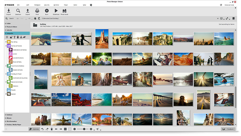 The Magix Photo interface.