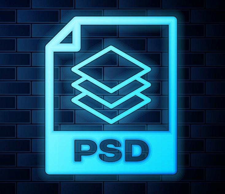 A neon PSD icon.