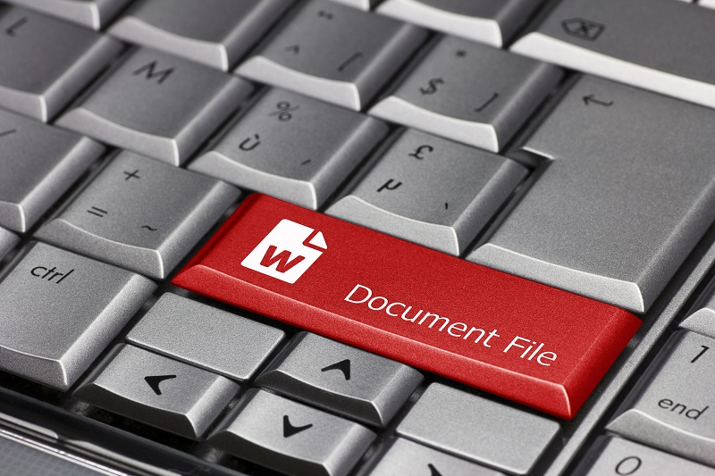 A keyboard with the document file icon.