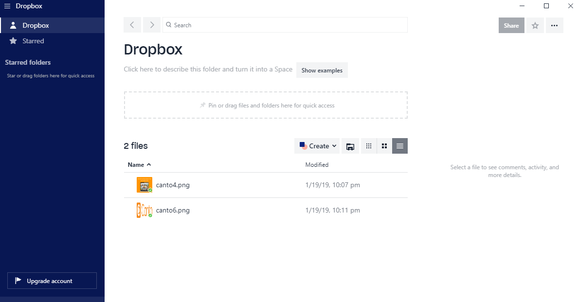 A screenshot of the Dropbox interface.