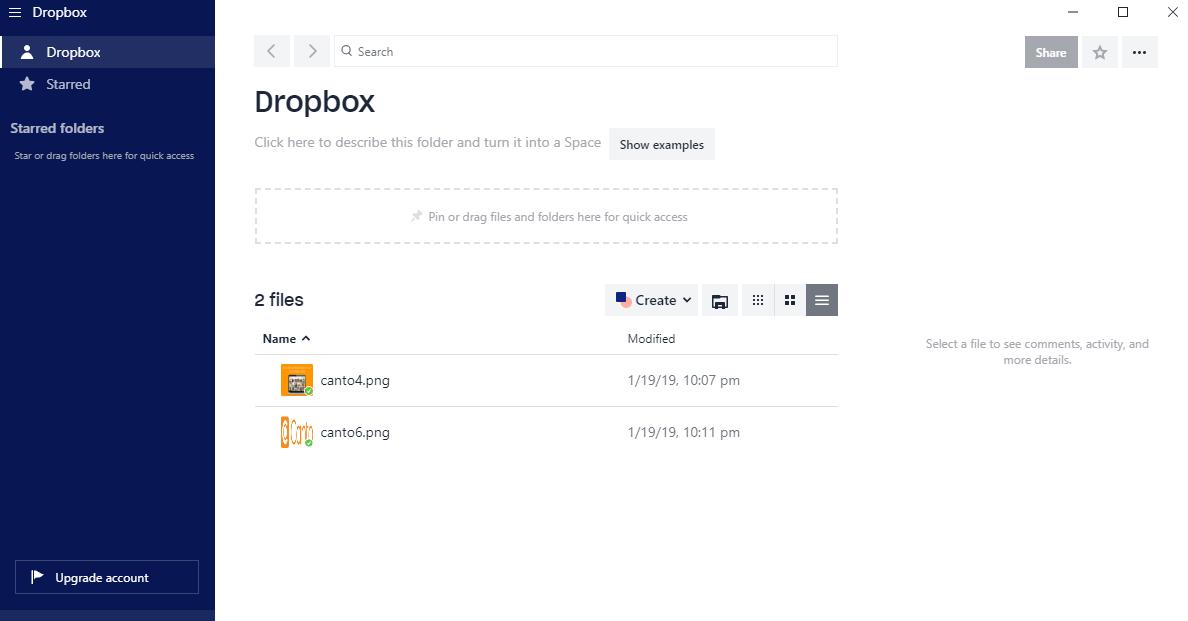 A screenshot of the Dropbox interface.