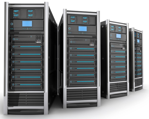 A picture of four computer servers.
