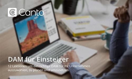 Deckblatt des E-Books DAM für Einsteiger, es zeigt eine Person, die an einem Laptop arbeitet, auf dem das DAM von Canto zu sehen ist.