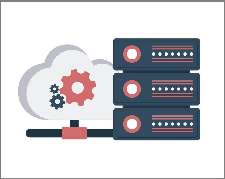 An animated picture of a cloud next to servers.