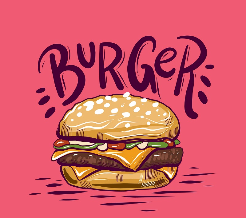 A picture of a hamburger.