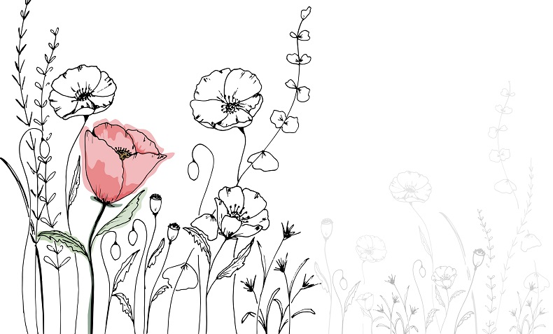 A drawn flower next to other flowers.