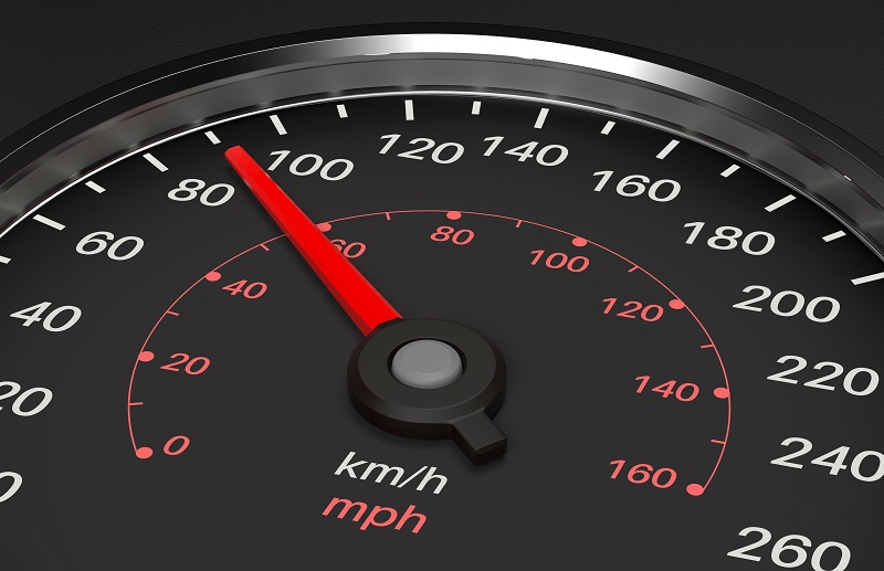 A picture of a speedometer.