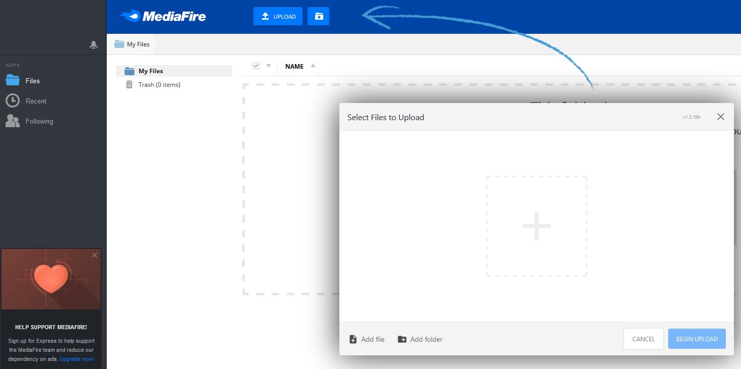 A screenshot of the MediaFire interface.
