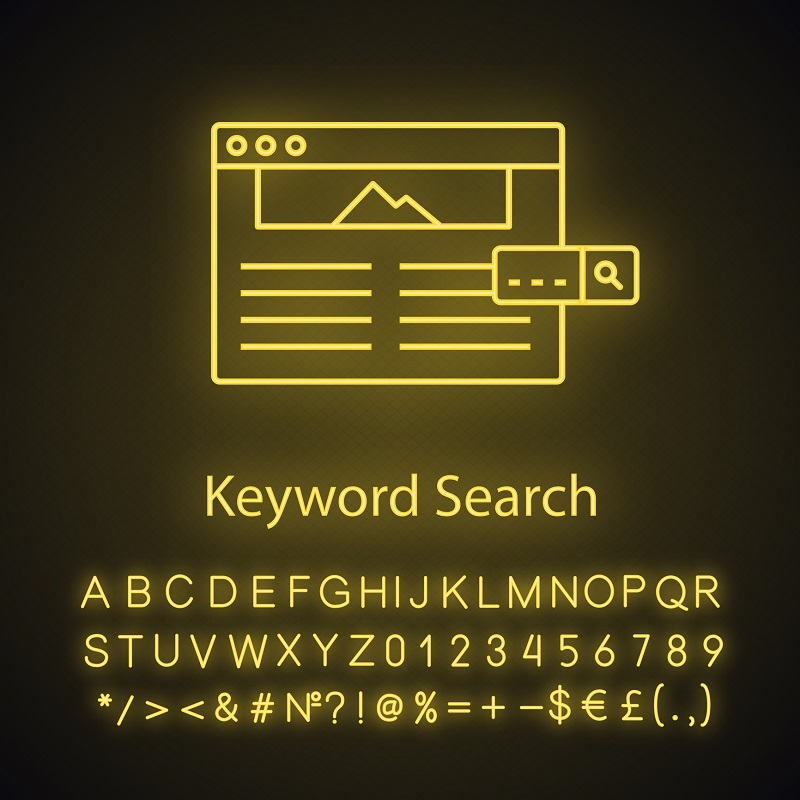 A picture of a keyword search on a computer.