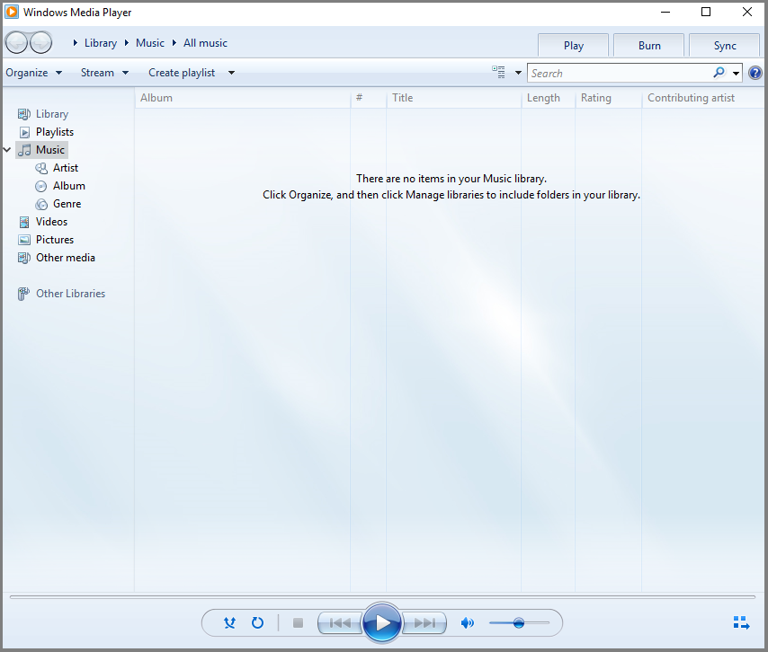 A screenshot of Windows Media Player.