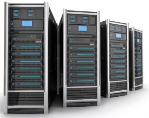 Eine Abbildung von vier Computerservern.