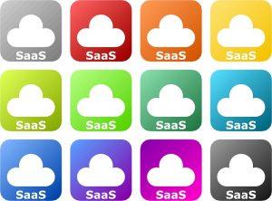 Ein Screenshot von zwölf SaaS-Cloud-Logos in verschiedenen Farben.