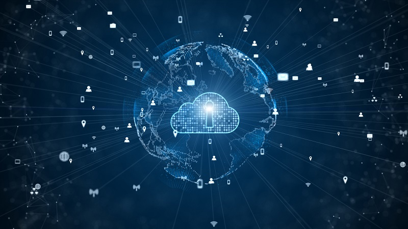 A digital cloud in a network.