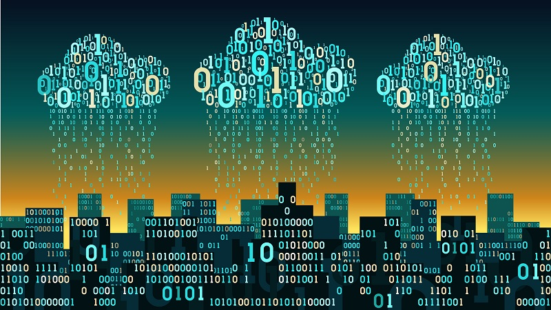 Digital clouds over a large binary city.