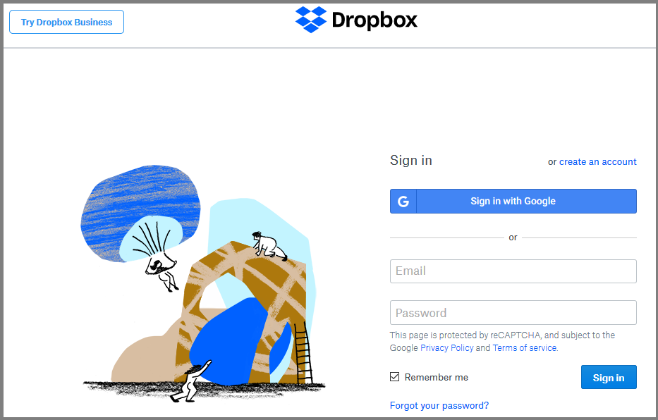 An animated picture of the Dropbox interface.