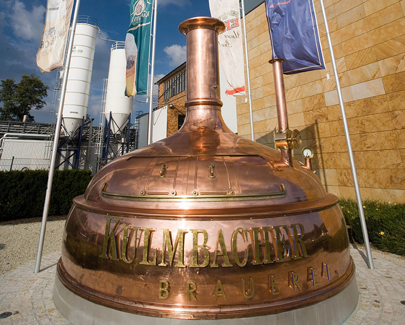 a large kettle at Kulmbacher brewery