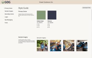 Ein Screenshot eines digitalen Styleguides.