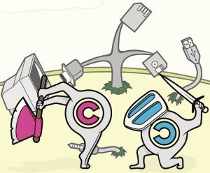 Ein Copyright- und ein Copyleft-Symbol im Cartoon-Stil bekämpfen sich gegenseitig.