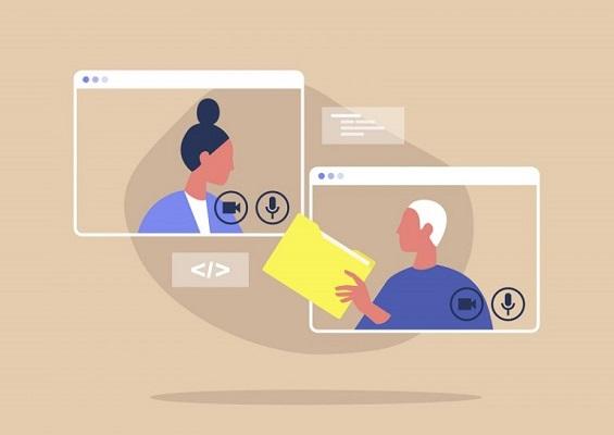Digitale Personen, die eine Datei miteinander teilen.