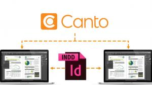 Das Logo einer INDD-Datei, die in einer Grafik symbolisiert, wie das Dateiformat im System von Canto verarbeitet wird.