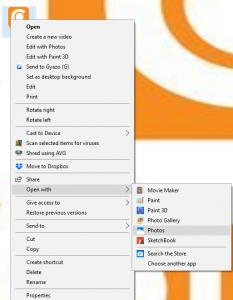 Screenshot eines Benutzers, der Microsoft Photos auswählt.