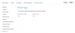 Ein Screenshot der Konfigurationsseite für Smart Tags im DAM von Canto.