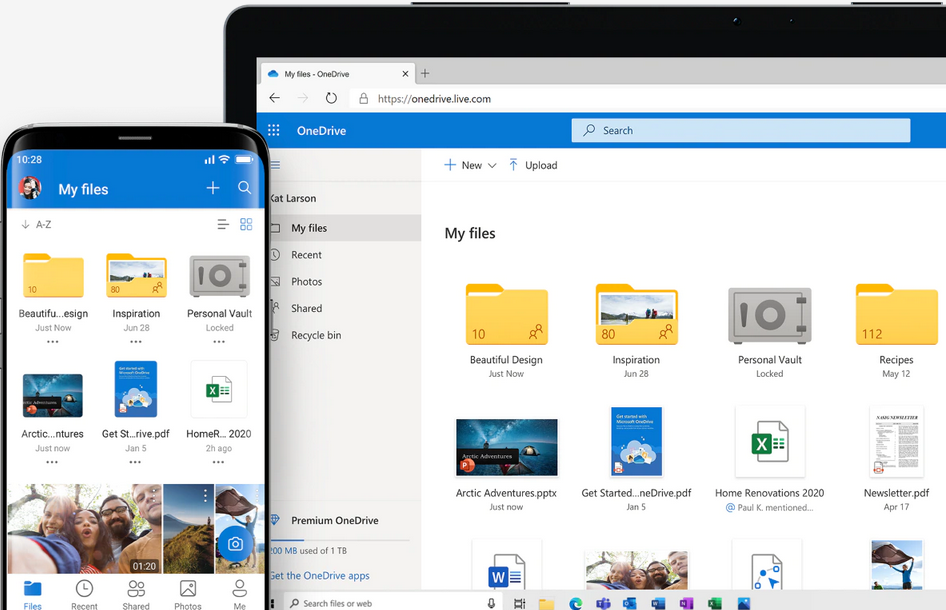 The OneDrive interface.