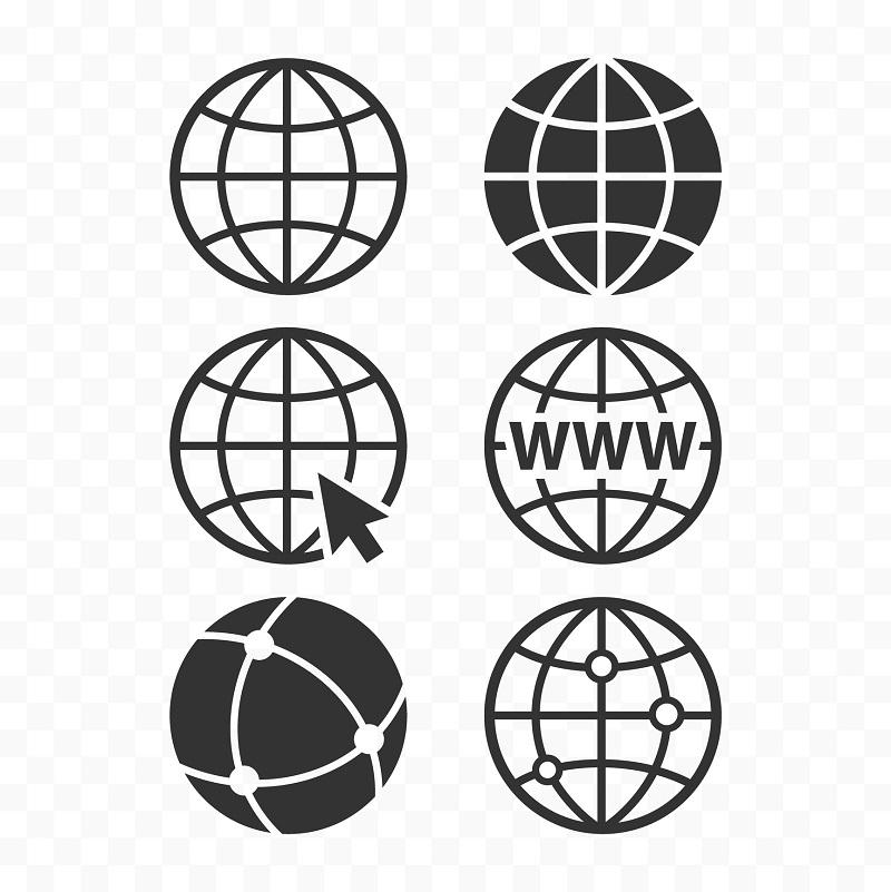 Logos of world wide web globes.