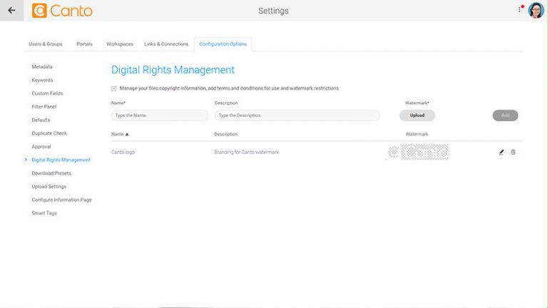 Screenshot of the Digital Rights Management settings page and watermark management section for the Canto DAM.