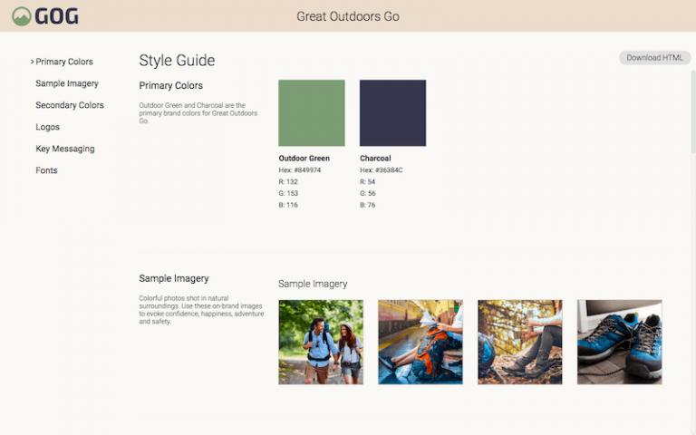 Screenshot der Styleguide-Seite eines Unternehmens im DAM-System von Canto.