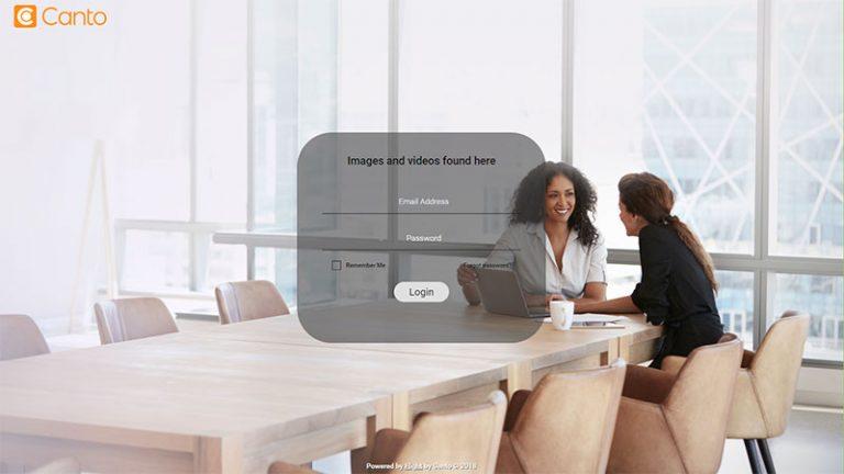 Screenshot der Login-Seite einer Firma zu ihrer Instanz des DAM-Systems von Canto.