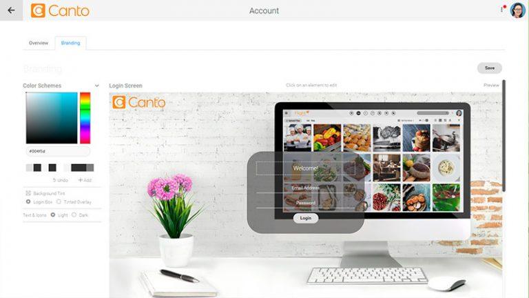 Screenshot der Branding-Einstellungen für eine Instanz des DAM-Systems von Canto.